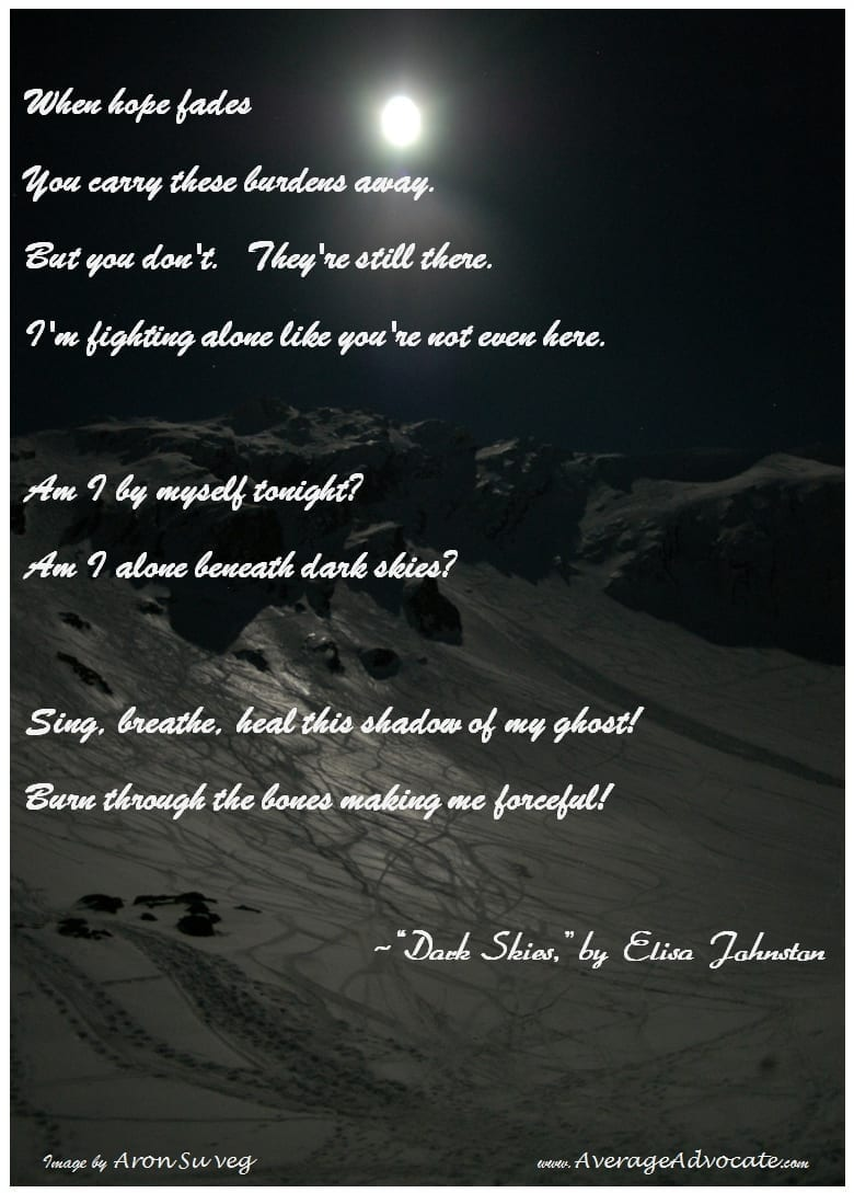 Dark Skies Poem Excerpt by Elisa Johnston www.AverageAdvocate.com