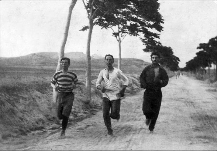 1896 Olympic marathon. Public domain photo by Burton Holmes.