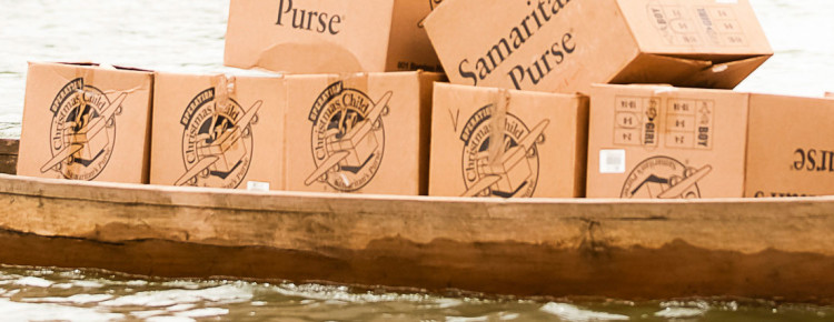 Operation Christmas Child boxes on boat